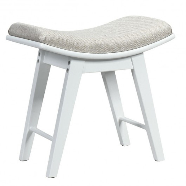 HW66055WH Modern Dressing Makeup Stool With Concave Seat Rubberwood Legs-White