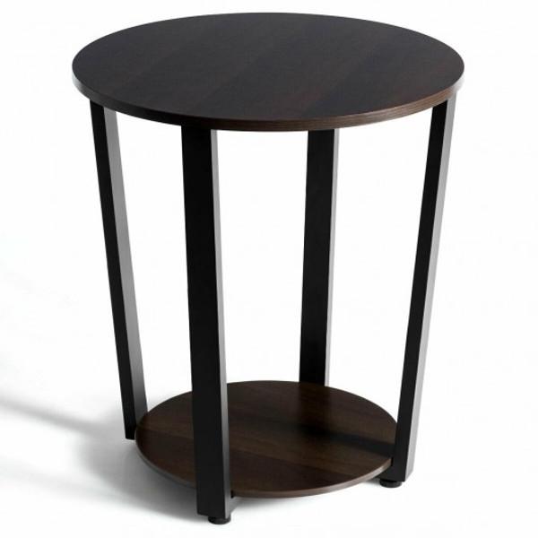 HW63074BN 2-Tier Round End Table With Storage Shelf & Metal Frame-Walnut