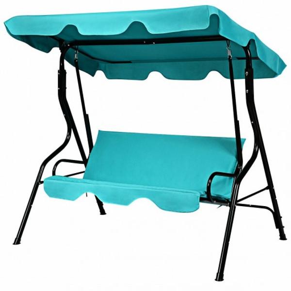 OP70491BL 3 Seats Patio Canopy Cushioned Steel Frame Swing Glider Hammock-Blue