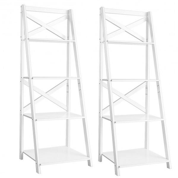 HW66096WH-2 4-Tier Wood Display Storage Bookshelf-White
