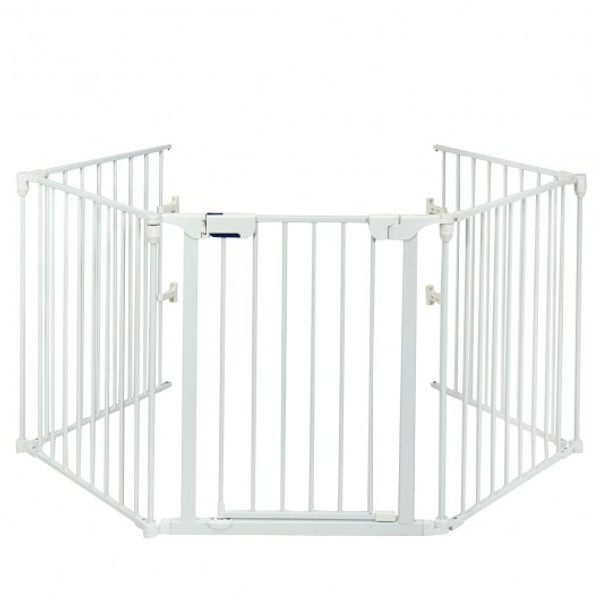 HW66202WH 115 Inch Length 5 Panel Adjustable Wide Fireplace Fence-White