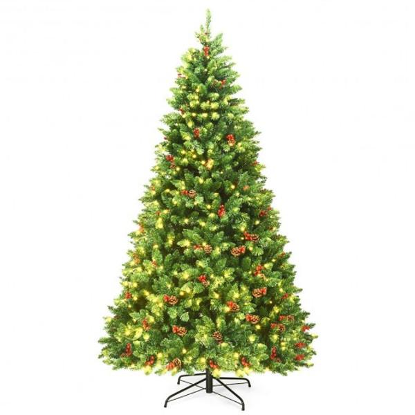 CM22852US 7.5Ft Pre-Lit Hinged Christmas Tree With 550 Led Lights