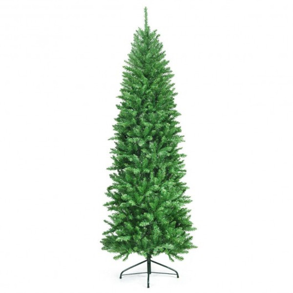 CM22811 7 Ft Pvc Hinged Pre-Lit Artificial Fir Pencil Christmas Tree With 150 Warm White Ul-Listed Lights-7'