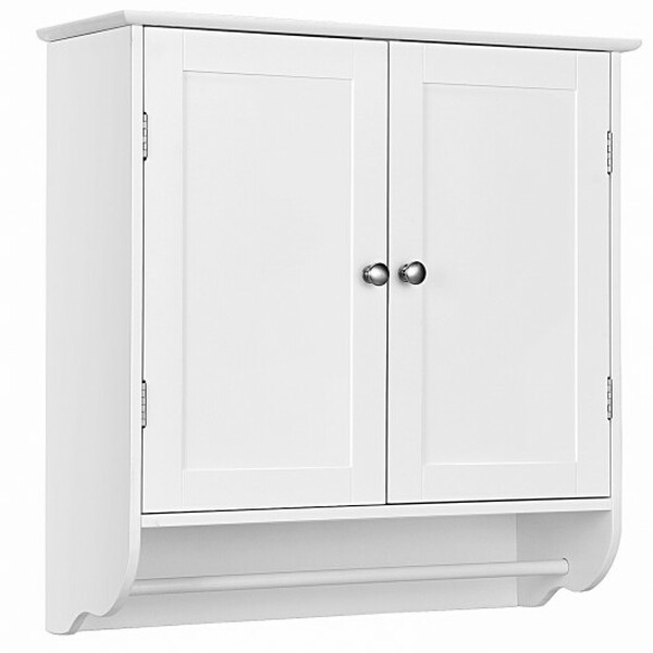 HW65749WH Wall Mounted Bathroom Storage Medicine Cabinet With Towel Bar-White
