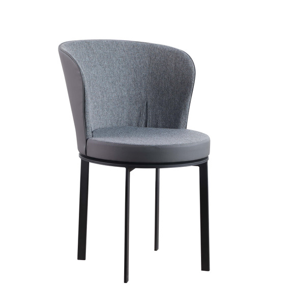 Barrel Back Gray Fabric and PVC Upholstered Swivel Side Chair (Set Of 2) MARGOT-SC-GRY