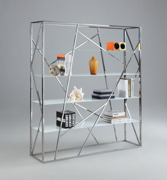 4 White Starphire Tempered Glass Bookcase 74104-BKS-S