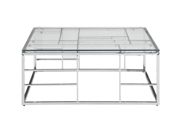 """39"""" Square Glass Top With Ladder Style Frame Cocktail Table 5073-CT"""