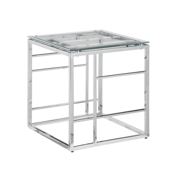 """20"""" Square Glass Top With Ladder Style Frame Lamp Table 5073-LT"""