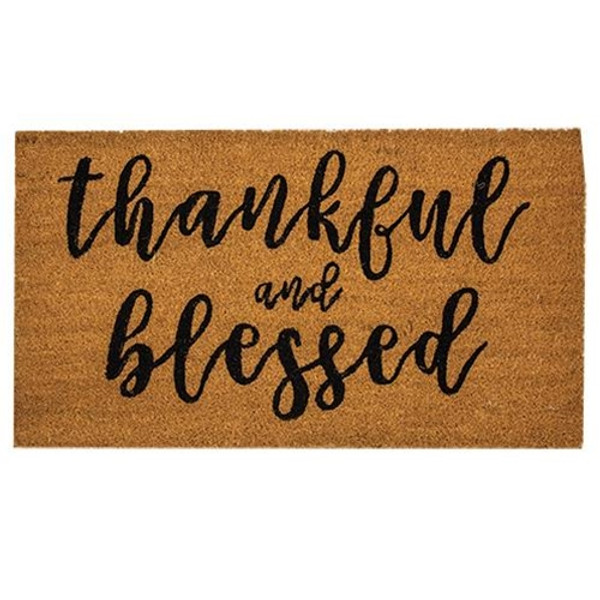 Thankful & Blessed Door Mat 30X18 G200014 By CWI Gifts