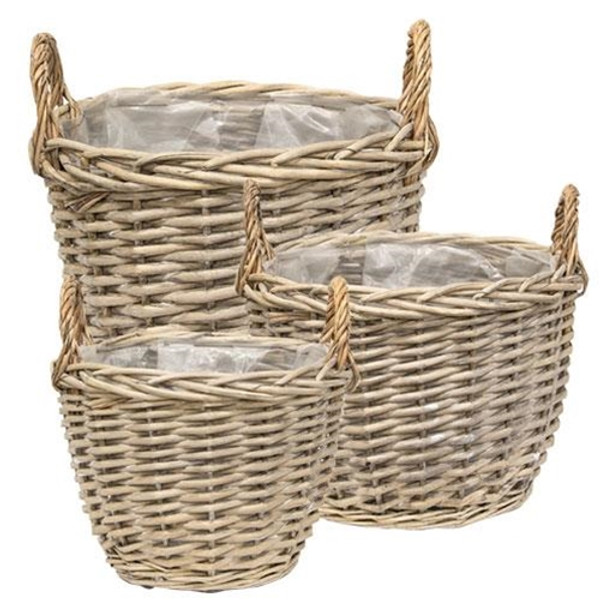 Set Of 3 - Graywashed Willow Gathering Baskets GBB9041 By CWI Gifts