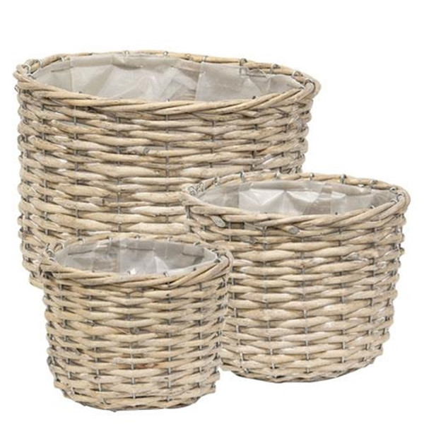Set Of 3 - Graywashed Willow Planter Baskets GBB9082 By CWI Gifts