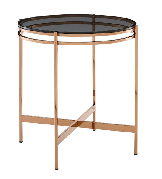 VGEWCT1011-1AA-ET Modrest Bradford - Modern Smoked Glass & Rosegold Small End Table By VIG Furniture