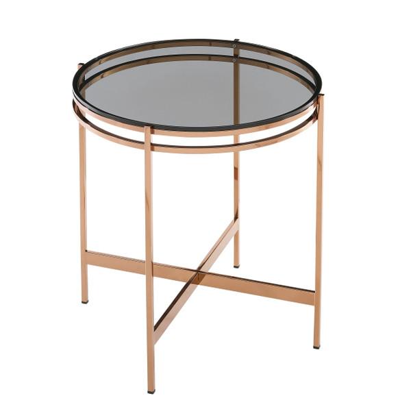 VGEWCT1011-1BA-ET Modrest Bradford - Modern Smoked Glass & Rosegold End Table By VIG Furniture