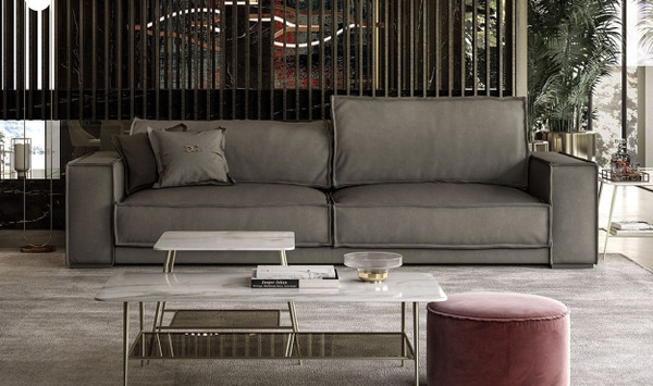 VGCCBAXTER/STATUS-GRY-S Coronelli Collezioni Sevilla - Italian Contemporary Grey Leather Sofa By VIG Furniture