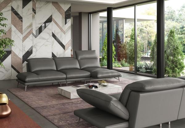 VGCCMILANO-SECT Coronelli Collezioni Milano Modern Italian Leather Grey Sectional Sofa By VIG Furniture