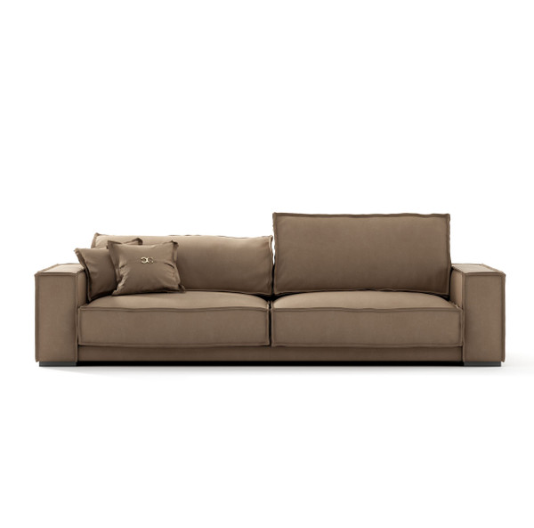 VGCCBAXTER-STATUS-TAN-S Coronelli Collezioni Sevilla - Italian Contemporary Tan Leather Sofa By VIG Furniture