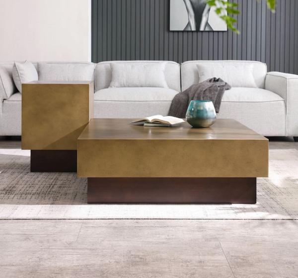 VGVCCT129-GRY-CT Modrest Derek - Modern Metal & Antique Copper Coffee Table By VIG Furniture