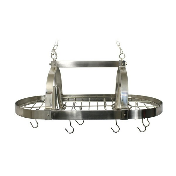 Brushed Nickel 2 Light Kitchen Pot Rack with Downlights - PR1000-BSN