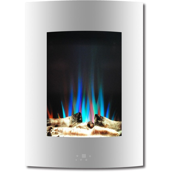 """19.5"""" Vertical Color Changing Wall Mount Fireplace With Logs CAM19VWMEF-2WHT"""
