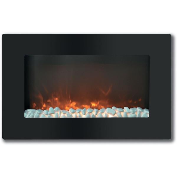 "30"" Callisto Wall Mount Electronic Fireplace With Crystal Rocks"