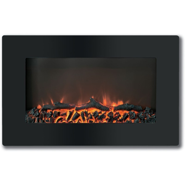 "30"" Callisto Wall Mount Electronic Fireplace With Logs CAM30WMEF-2BLK"