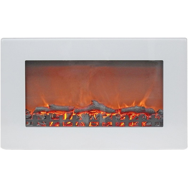 """30"""" Wall Mount Electric Fireplace With Logs CAM30WMEF-2WHT"""