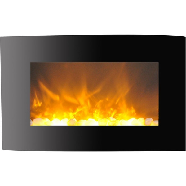 """35"""" Callisto Curved Wall Mount Electronic Fireplace With Crystal Rocks"""