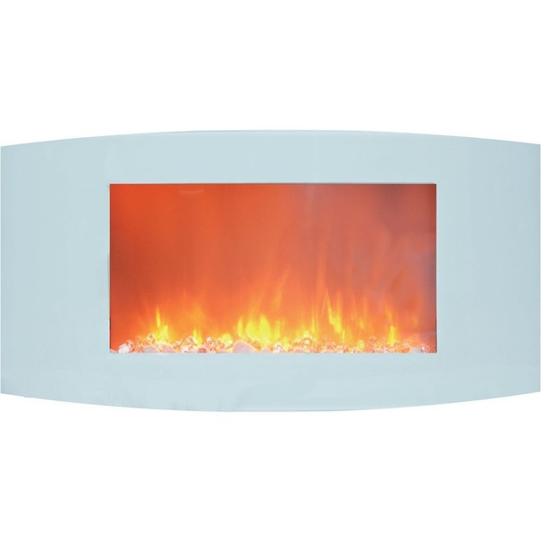"""35"""" Curved Wall Mount Electric Fireplace With Crystals CAM35WMEF-1WHT"""