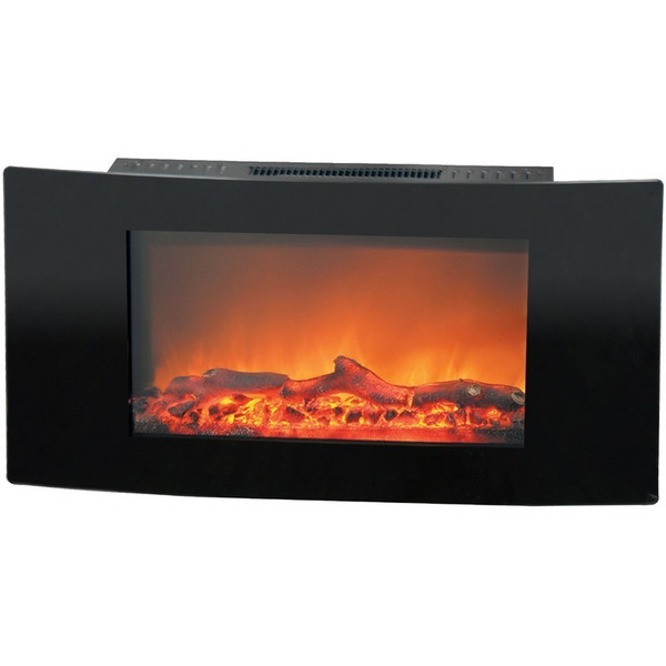 """35"""" Callisto Curved Wall Mount Electronic Fireplace With Logs"""