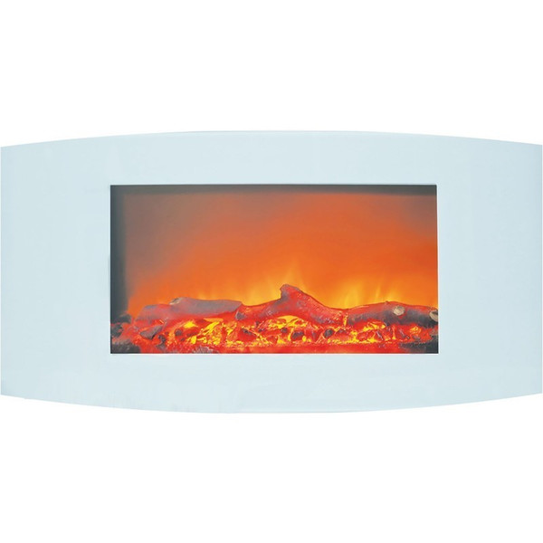 "35"" Curved Wall Mount Electric Fireplace With Logs CAM35WMEF-2WHT"