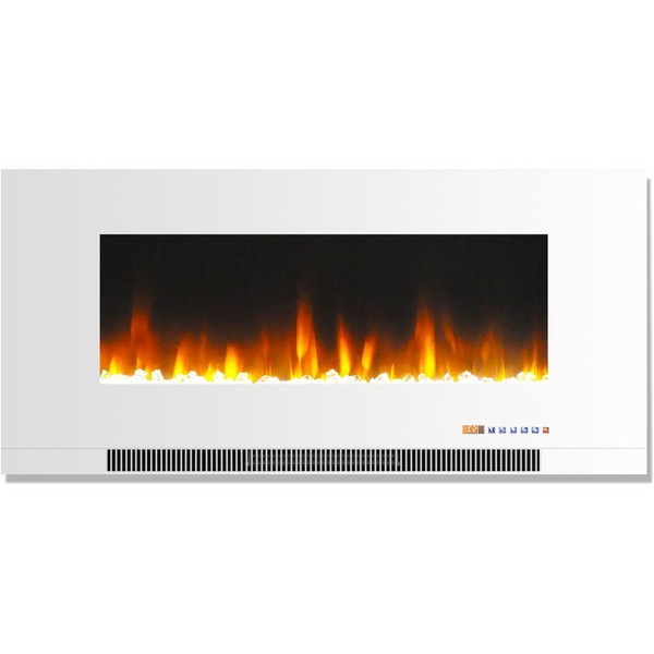 """42"""" Color Changing Wall Mount Fireplace With Crystals CAM42WMEF-1WHT"""
