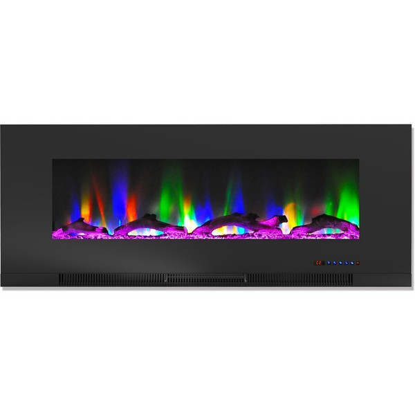 """50"""" Color Changing Wall Mount Fireplace With Logs CAM50WMEF-2BLK"""