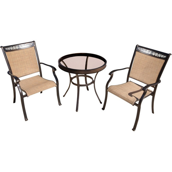 """3 Pieces Bistro Set: 2 Sling Dining Chairs, 30"""" Table FNTDN3PCG"""