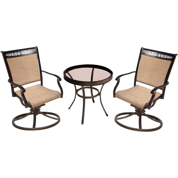 """3 Pieces Bistro Set: 2 Sling Swivel Chairs, 30"""" Table FNTDN3PCSWG"""