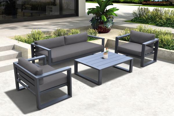 Armen Aelani Outdoor 4 Piece Set In Dark Grey Finish And Charcoal Cushions SETODAEGR