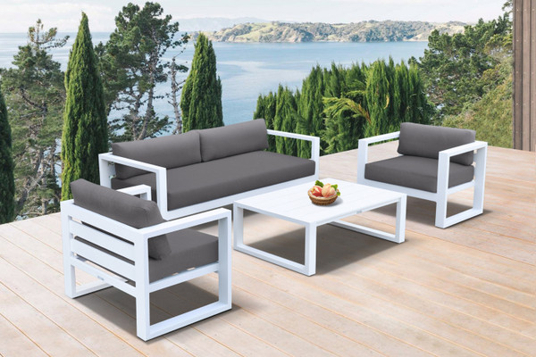 Armen Aelani Outdoor 4 Piece Set In White Finish And Charcoal Cushions SETODAEWH