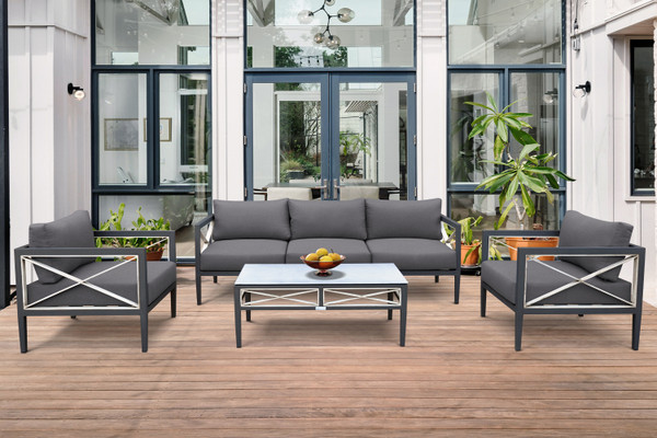 Armen Sonoma Outdoor 4 Piece Set In Dark Grey Finish And Charcoal Cushions SETODSOCH