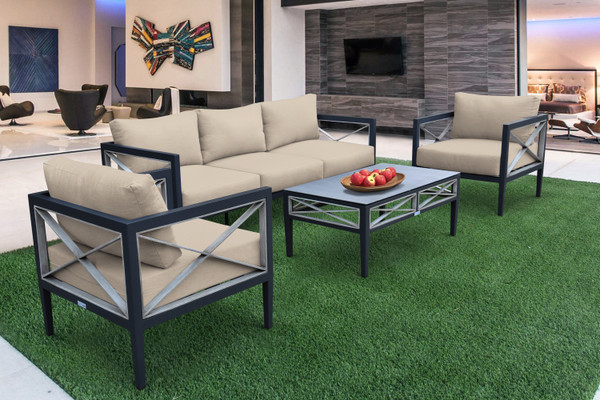 Armen Sonoma Outdoor 4 Piece Set In Dark Grey Finish And Taupe Cushions SETODSOTA