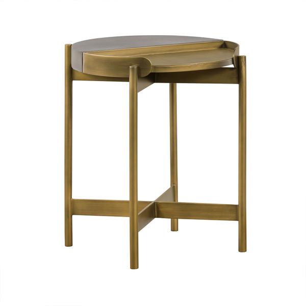 Armen Dua Grey Concrete End Table With Antique Brass LCDULACC