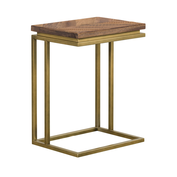 Armen Faye Rustic Brown Wood C-Shape End Table With Antique Brass Base LCTRENRU