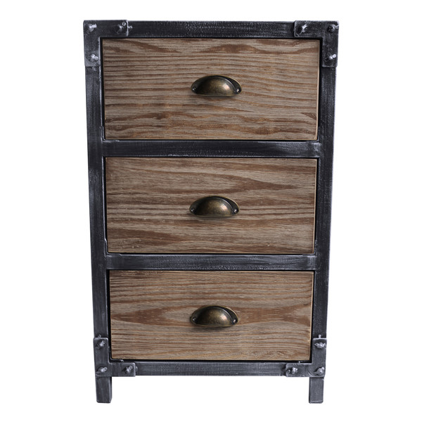 Armen Nyx Industrial 3-Drawer End Table In Industrial Grey And Pine Wood LCNXLASBPI