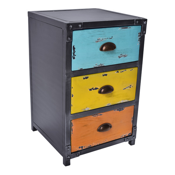 Armen Oskar Industrial 3-Drawer End Table In Industrial Grey And Pine Wood LCOKLASBPI