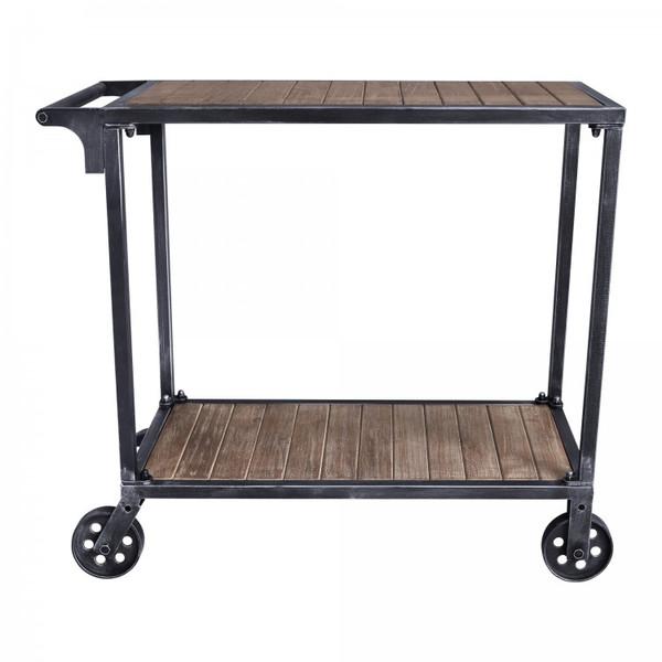 Armen Moka Industrial Kitchen Cart In Industrial Grey And Pine Wood LCMKCASBPI