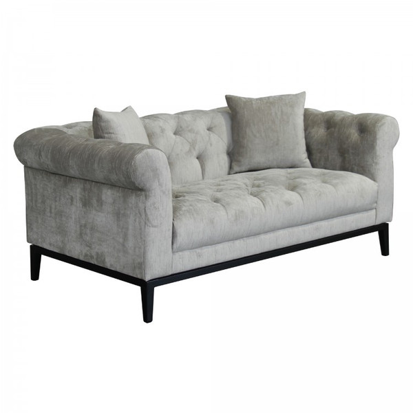 Armen Armen Living Glamour Contemporary Loveseat With Black Iron Finish Base And Beige Fabric LCGL2BG