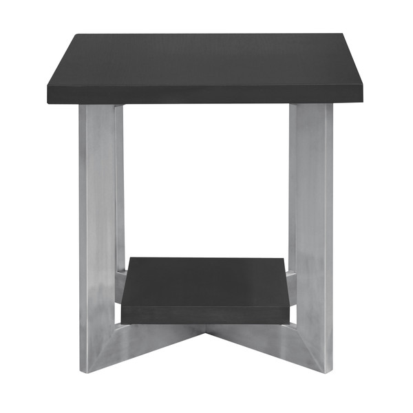 Armen Armen Living Vermont Contemporary End Table In Brushed Stainless Steel Finish And Grey Top LCVMLAGR