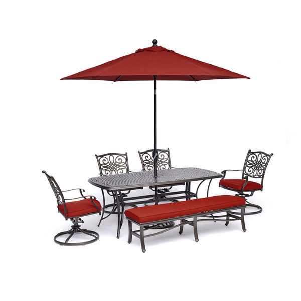 Hanover Traditions 6-Piece Dining Set in Red TRADDN6PCSW4BN-SU-R