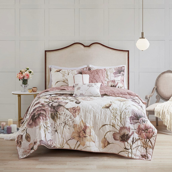 Cassandra 6 Piece Floral Print Reversible Cotton Quilted Coverlet Set - Full/Queen By Madison Park MP13-6169