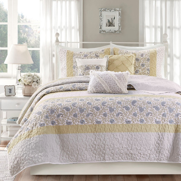 Dawn 6 Piece Cotton Percale Reversible Coverlet Set - King/Cal King By Madison Park MP13-7284