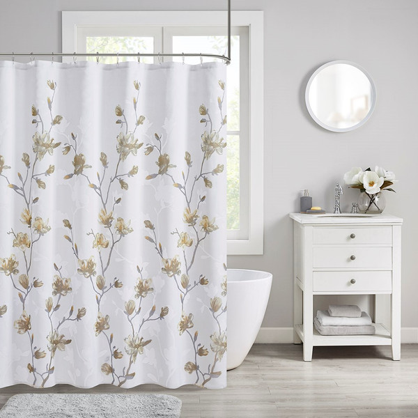 Magnolia Floral Printed Burnout Shower Curtain By Madison Park MP70-7482