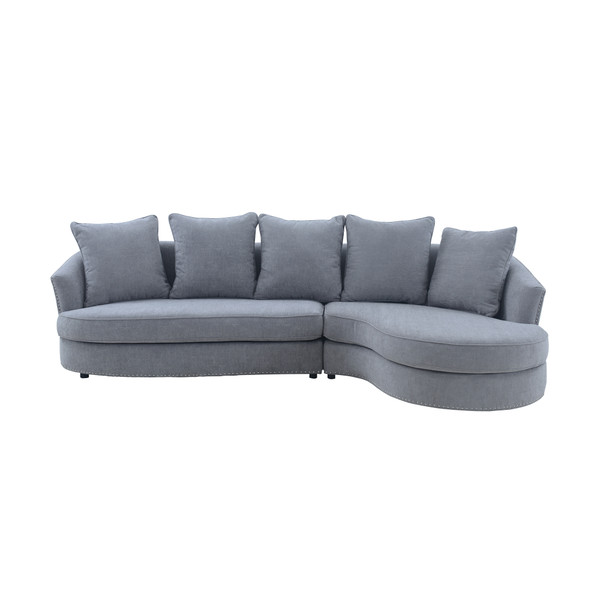 Armen Living Queenly Gray Fabric Uphostered Corner Sofa LCQNCOGR